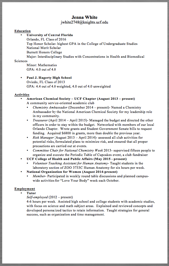 chemistry resume examples jenna white jwhite2748 knights ucf edu