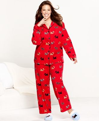 Charter Club Plus Size Pajamas, Holiday Lane Flannel Top and ...