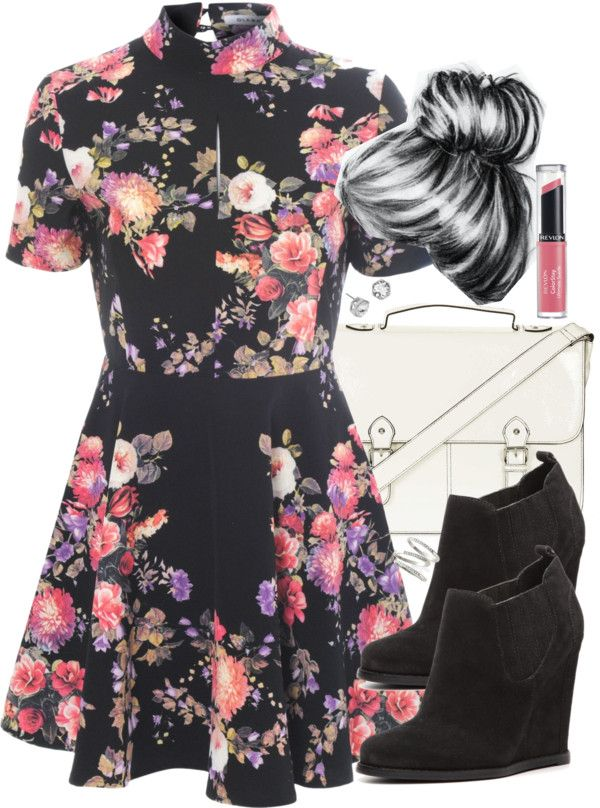 Alice You skater dress, $26 / Audrey Brooke wedge boots / Topshop satchel handbag, $52 / Ariella Collection stackable ring / Kenneth Cole stud earrings / Revlon pink lipstick