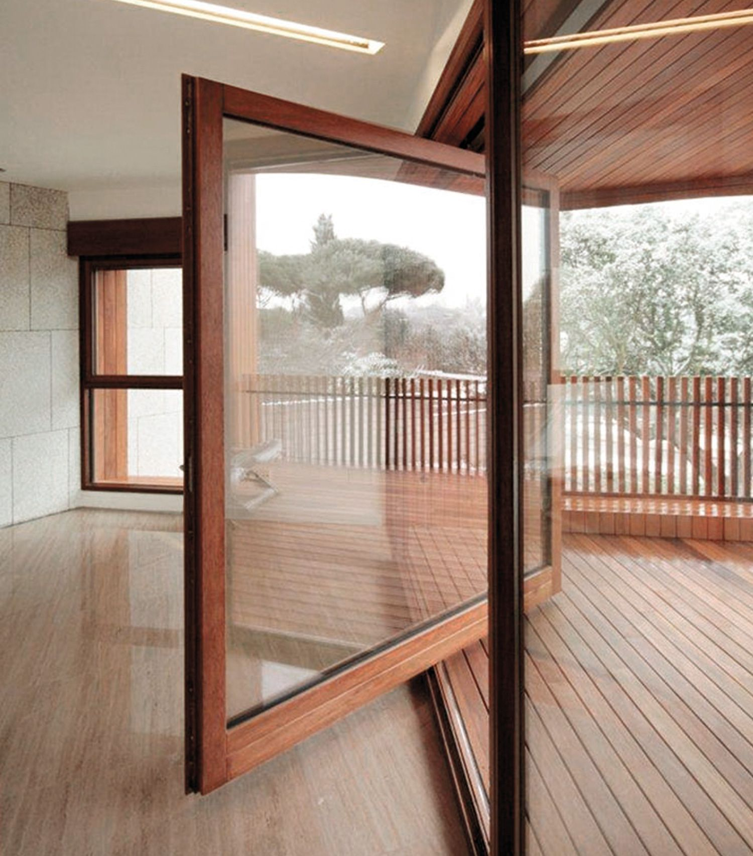 Vertical pivot windows or french doors with
