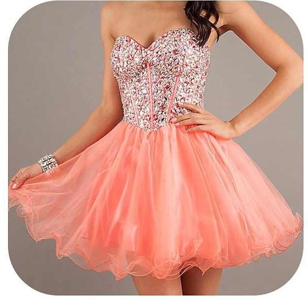 Badazzled Pink Coral Short Dress Prom Prom Dresses