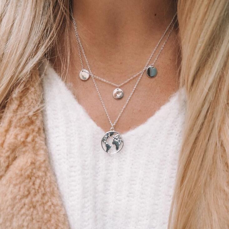 d1d4d6b3307 Gold color Choker Necklace for women Long moon Tassel Pendant Chain  Necklaces   Pendants Laces velvet chokers Fashion Jewelry moon Long Pendant