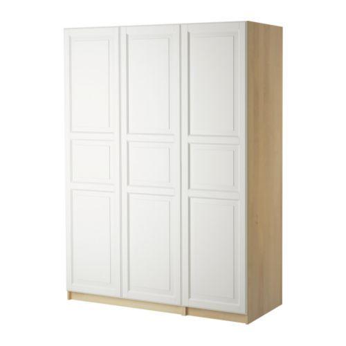 Schrank ikea weiß  PAX Kleiderschrank mit 3 Türen - Birkeland weiß, Birkenachbildung ...