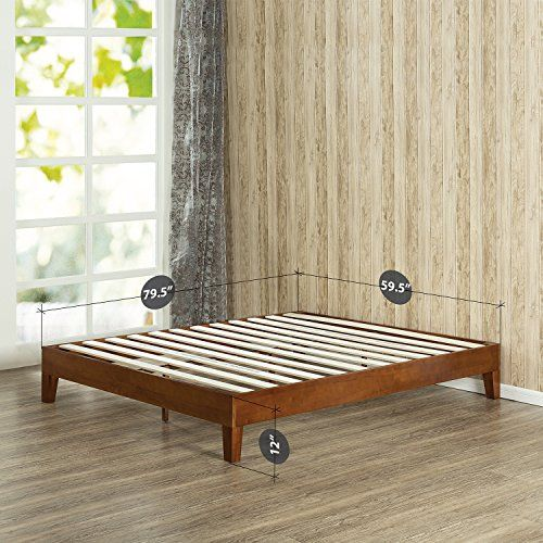 Zinus 12 Inch Deluxe Wood Platform Bed   No Boxspring Needed   Wood Slat  support   Cherry Finish  Queen. Zinus 12 Inch Deluxe Wood Platform Bed   No Boxspring Needed
