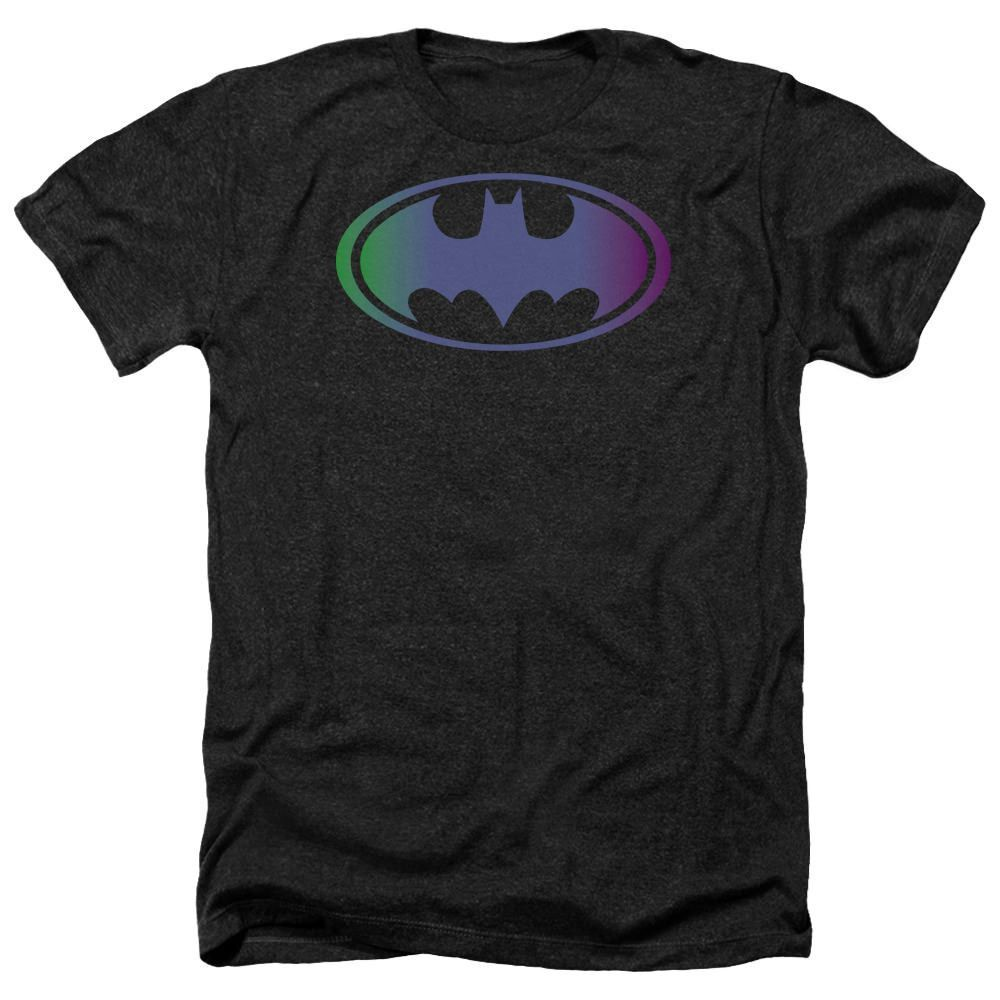 Batman Gradient Bat Logo Black Heathered Duo-Blend T-Shirt