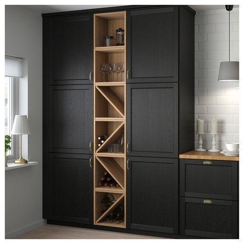 Epingle Par Valerie Gramaglia Sur Buanderie Cuisine Noire Et Bois Meuble Rangement Ikea Cuisine Moderne