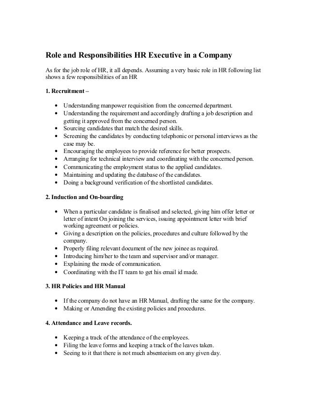 role and responsibilities hr executive in a company as for the job