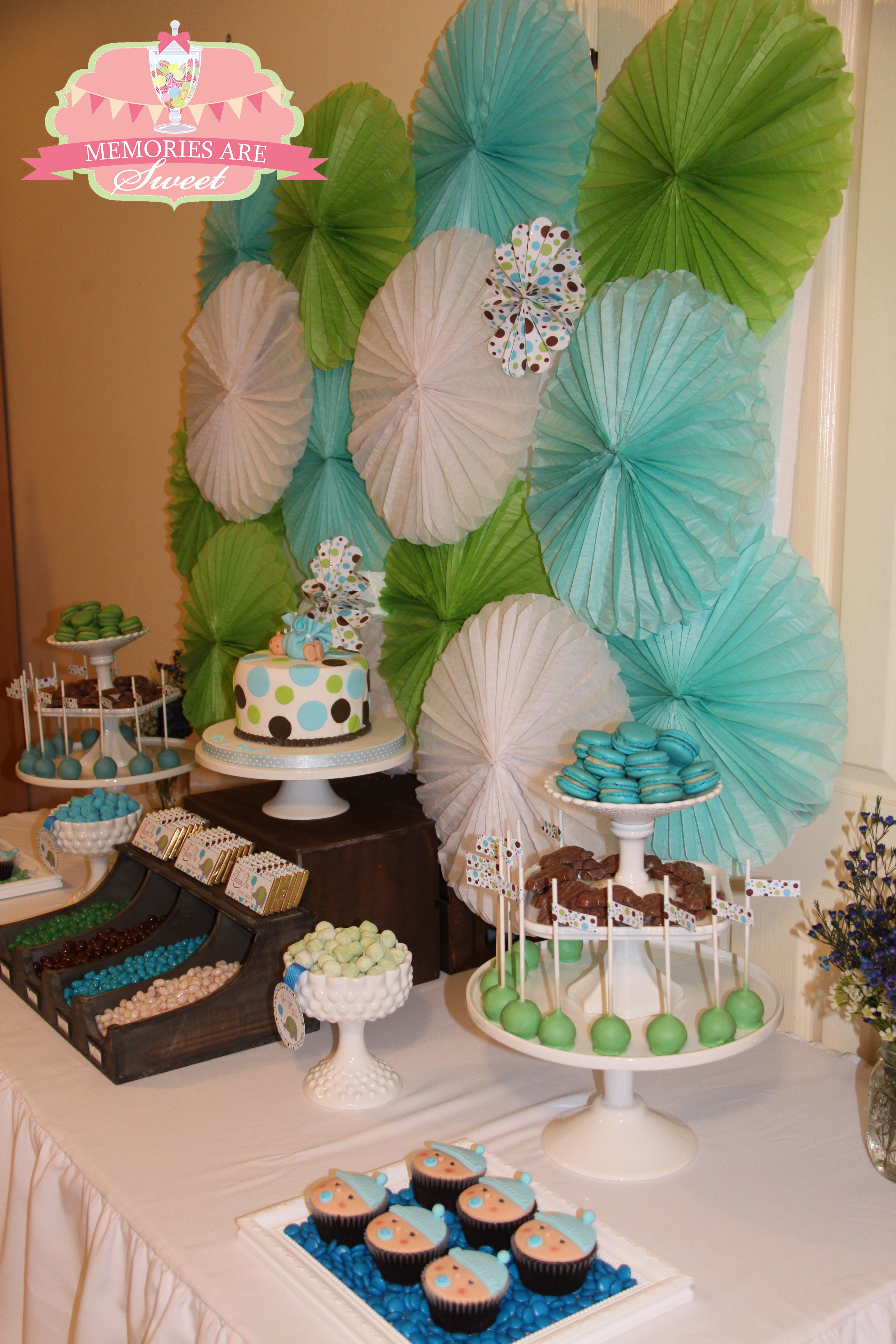 Baby Shower For A Baby Boy Blue Green Brown Polka Dots Baby Elephant Theme Styled Girl Baby Shower Decorations Polka Dot Baby Shower Baby Shower Sweets