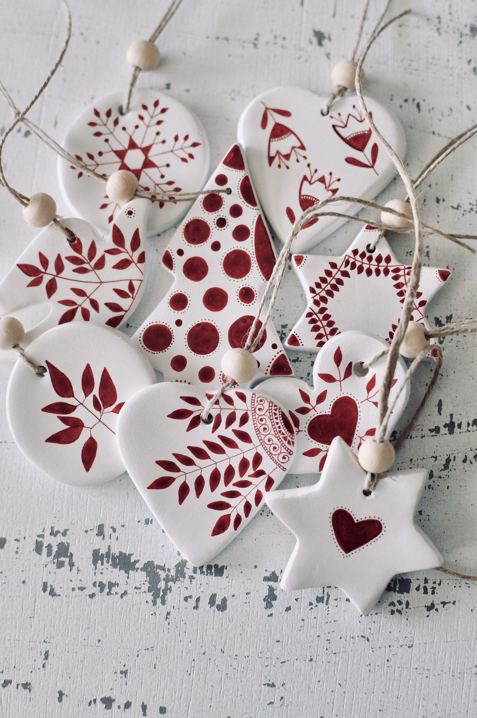 Set Of 9 Christmas Tree Decorations Ornaments Scandinavian Christmas Ceramic Ornaments Holiday Decor Nordic Decor Hygge Holiday Decorations In 2020 Ceramic Christmas Decorations Clay Christmas Decorations Christmas Clay