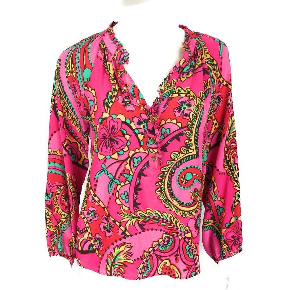 62e7c33dbd60e2 Lilly Pulitzer Women s Elsa Top Small Pink 100% Silk Style 16361 HTF Print  WC2  LillyPulitzer  Blouse