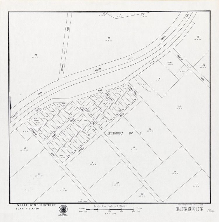 BUREKUP November 1964 Cadastral map showing land use. Wellington District Plan 411A/40 Part of collection: Townsite maps, Western Australia. https://encore.slwa.wa.gov.au/iii/encore/record/C__Rb1868779