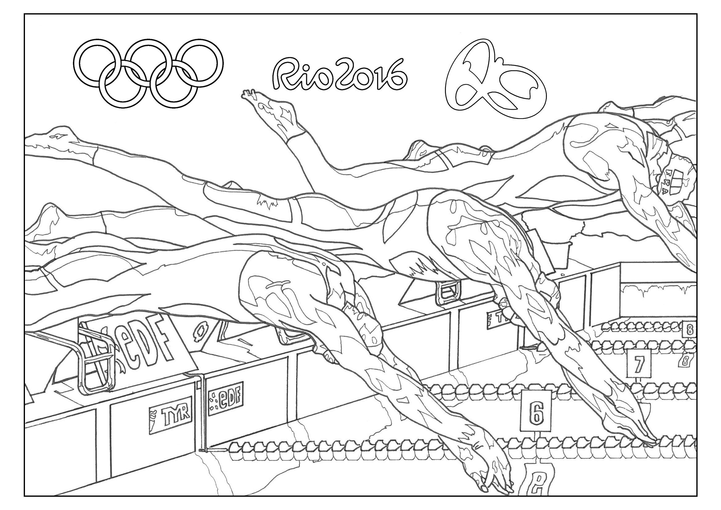 Free Coloring Page Coloring Adult Rio 2016 Olympic Games Swimming