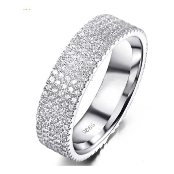 SALE 50 Off 5 Row Eternity Ring Engagement Wedding Band CZ Cubic