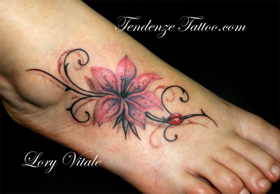 pink flower with ladybug | Cute tattoos, Tattoo designs ...