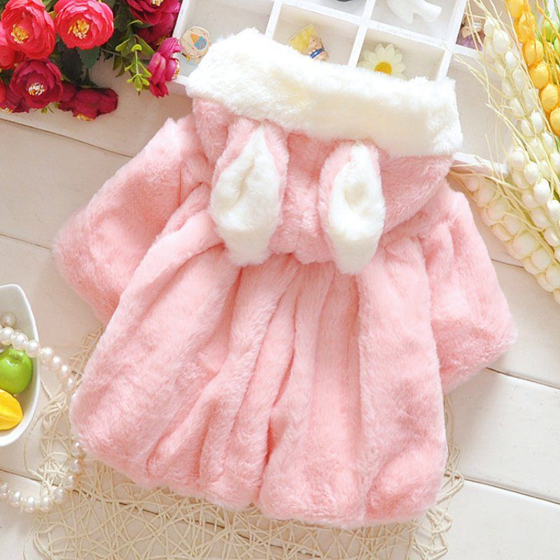 59e13925d33d Baby Kids Warm Coat Lovely Girl Jackets Bunny Hooded Bat wing Newborn Girl  Solid Rabbit Ears Kids Clothing