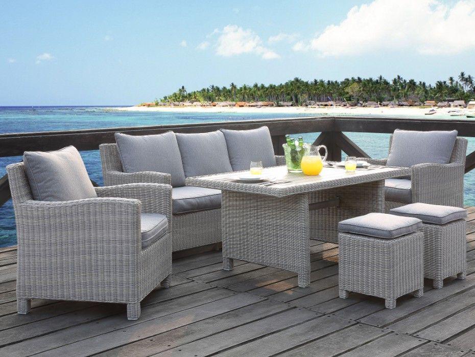 Salon jardin OLINDA résine beige clair : canapé, 2 fauteuils, 2 ...