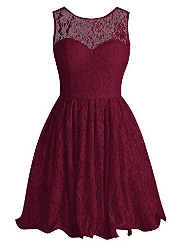 Tideclothes Short Lace Bridesmaid Dress Cute Bowtie Prom Evening Burgundy Us8 Http