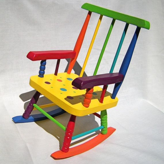 Idea Paint A Birthday Chair In Rainbow Colors Rocking Chair
