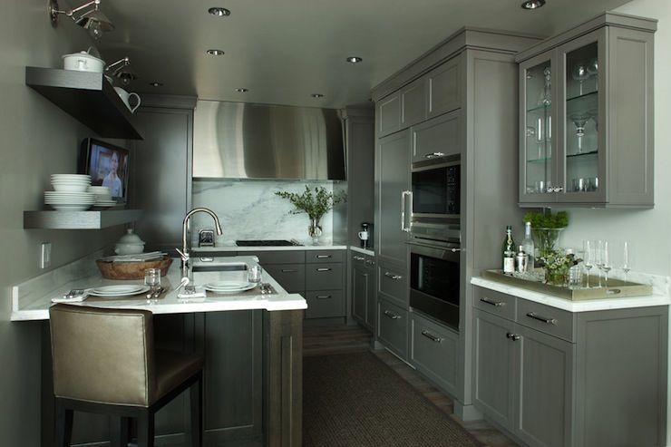 Best Small Grey Galley Kitchen Contemporary Kitchen Kitchen 400 x 300