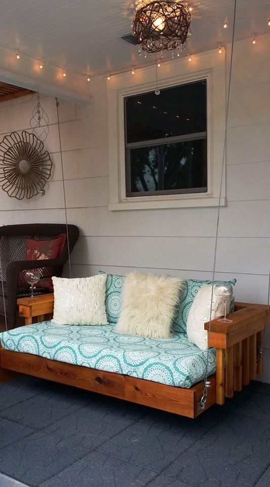 Build a cedar floating chair bed suspended by cable. Cushions were on floating couch for bedrooms, floating end tables for bedrooms, slides for bedrooms, furniture for bedrooms,