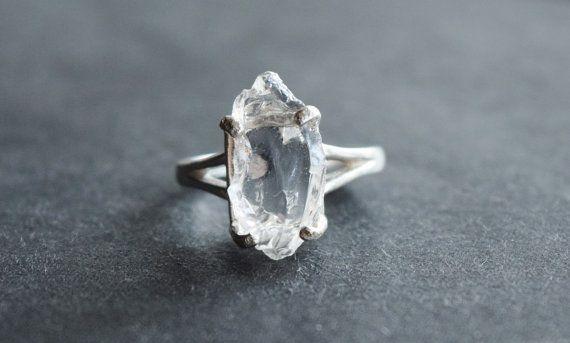 Raw diamond ring Raw diamond engagement ring Unqiue engagement ring Size 8 Engagement ring Sterling silver ring Diamond ring