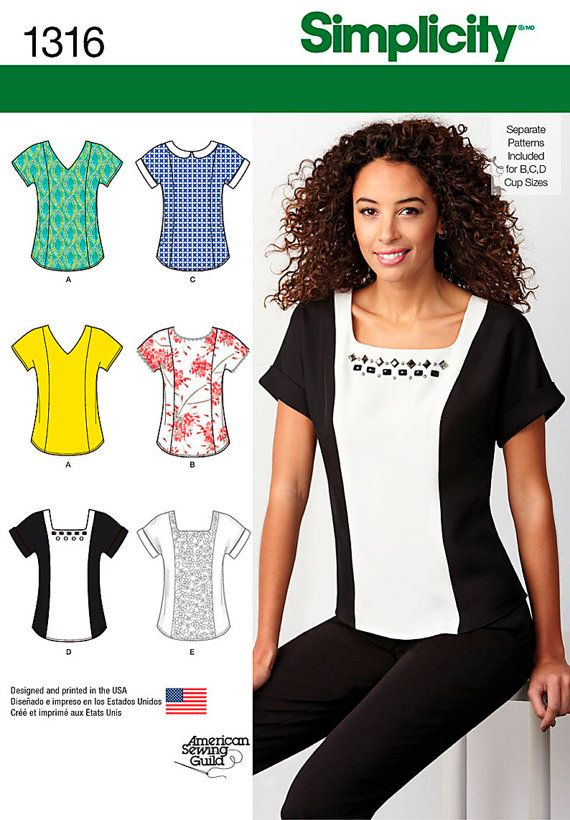 Simplicity Sewing Pattern 1316 Misses\' Top With Neckline Variations ...