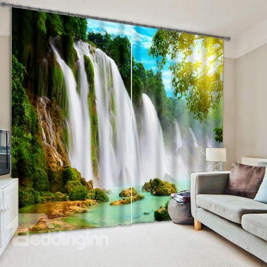 3d turbulent waterfall and green trees printed nature scenery