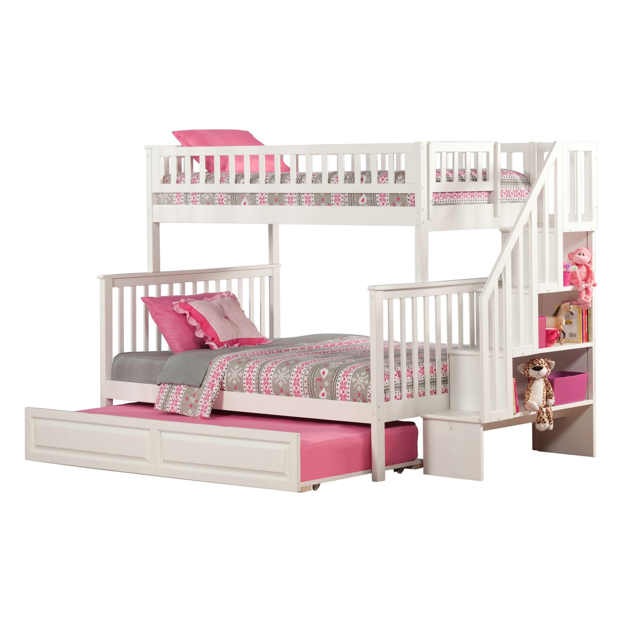 Twin over full loft bed with stairs  Atlantic Furniture Woodland Staircase Bunk Bed Twin over Full with