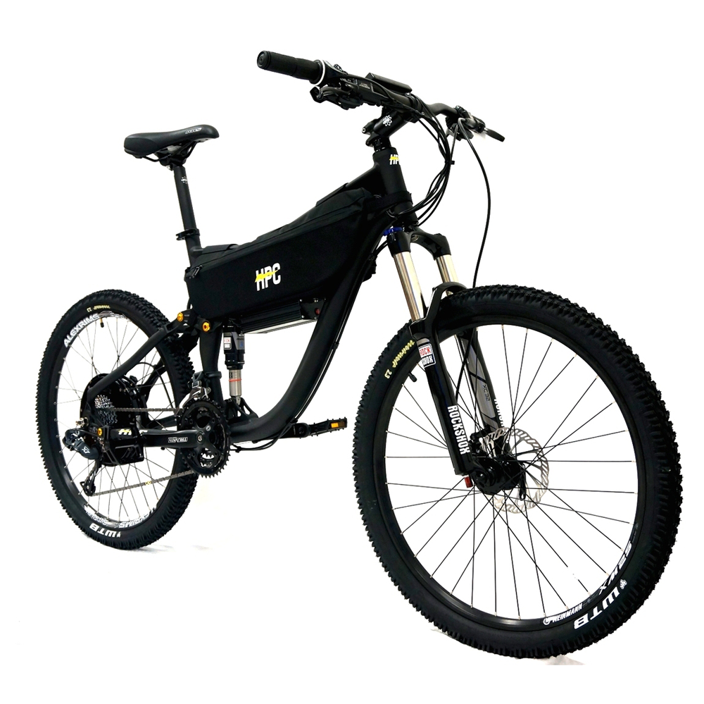 Black Full Suspension Mountain Bike With Crystalyte Hub Motor From