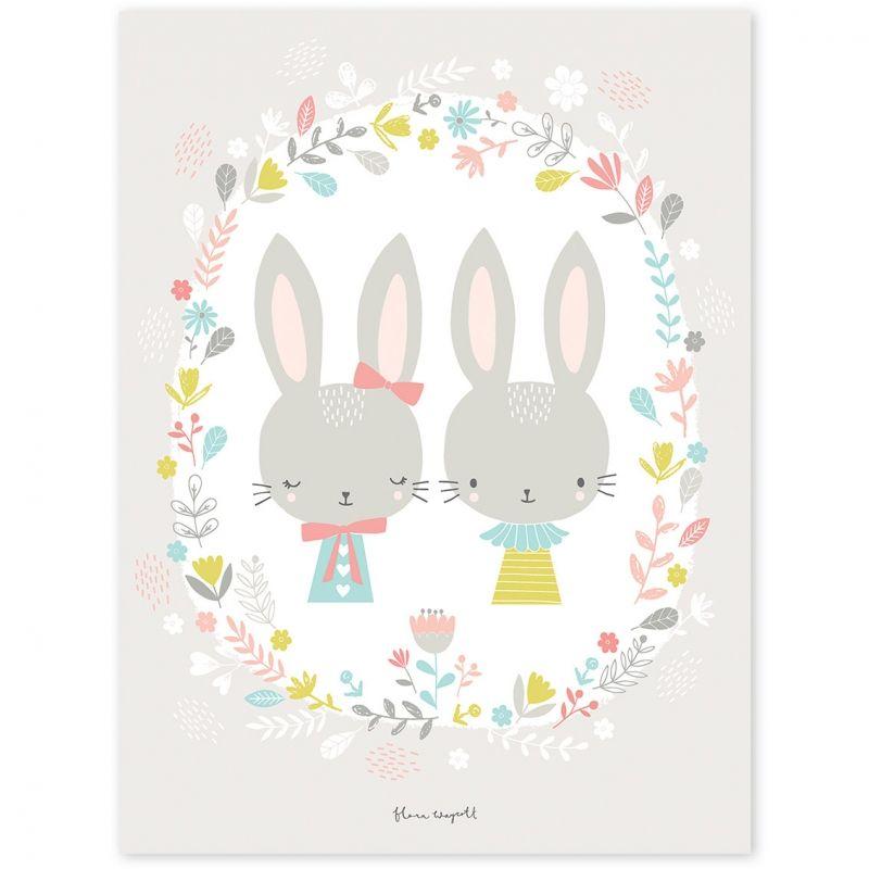 Le poster enfant lapins sweet bunnies by flora waycott - Poster chambre enfant ...