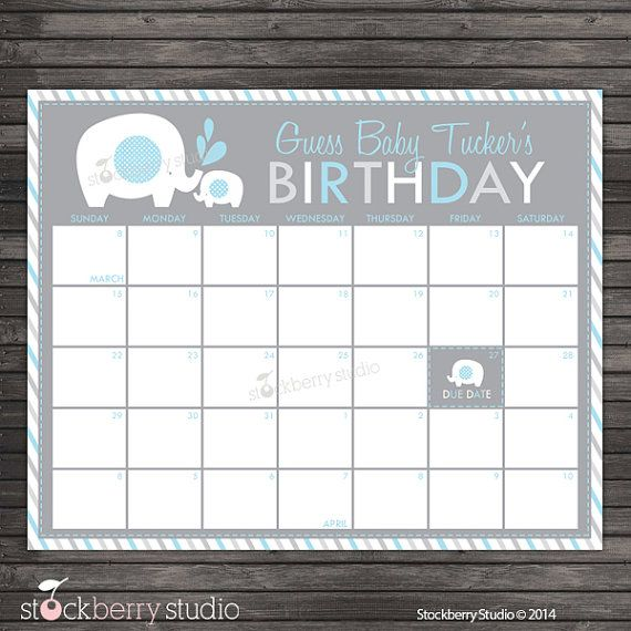 elephant guess the due date calendar printable by blue and gray boy baby shower game. Black Bedroom Furniture Sets. Home Design Ideas