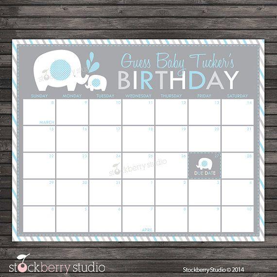 Predictions Boy Guess Baby/'s Birthday Blue Baby Due Date Calendar Due Date Game Editable Template Elephant Theme ELPB Elephant Calendar