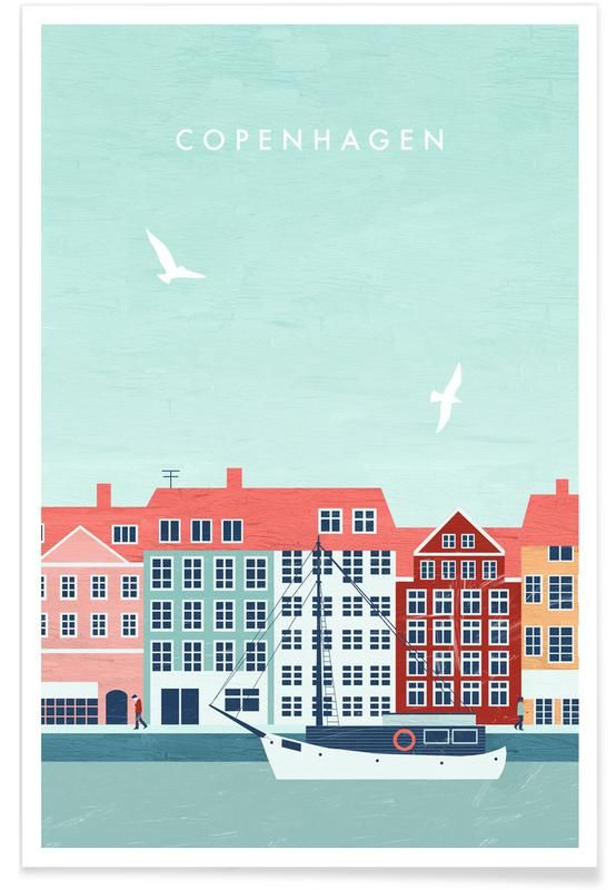 Kopenhagen By Katinka Reinke As Premium Poster Buy Online At Juniqe Reliable Shipping Disc Copenhagen Travel Poster Travel Posters Vintage Travel Posters