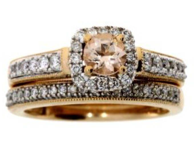 Morganite Diamond Engagement Ring Set 10KT Rose Gold