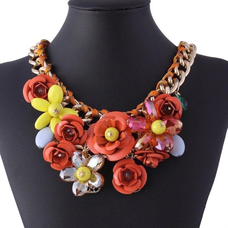 Hot Sale Transparent Big Resin Crystal Flower Vintage Choker Statement Necklace  #Handmade #Charm