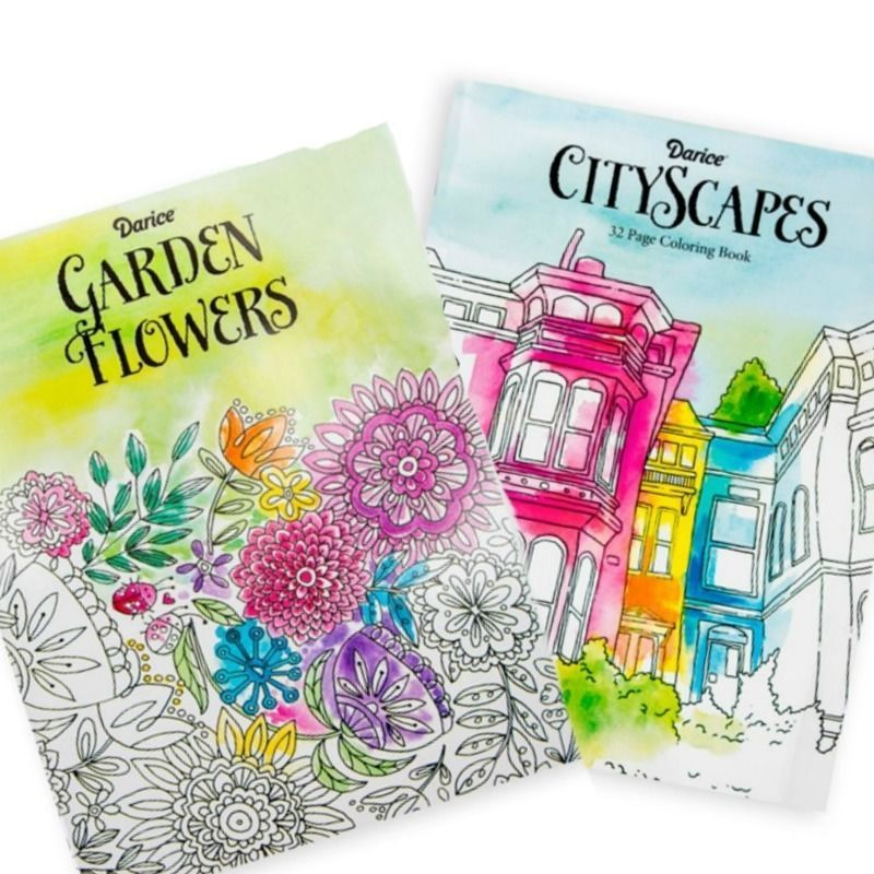 2 Adult Coloring Books Garden Flowers and CityScapes Darice 32 Pages Each