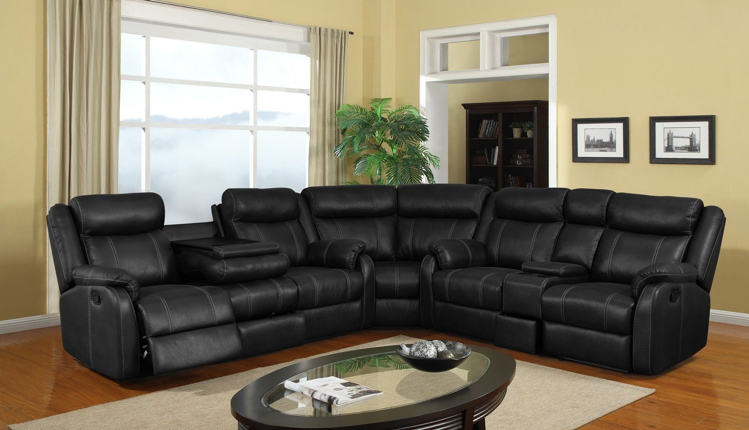 Onyx reclining sectional with cupholder storage sectional sofa with recliner leather sectional sofas