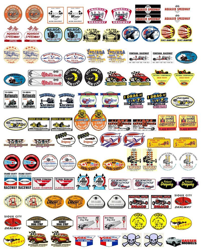 GOFER RACING ASSORTED NASCAR OR DRAG CAR DECALS FOR 1//24 /& 1//25 SCALE MODEL CARS
