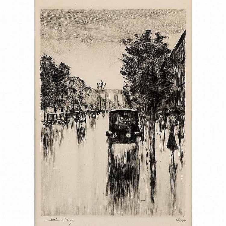 Lesser Ury Kraftdroschke Im Regen Brandenburger Tor Drypoint Lesser Ury Drypoint Art