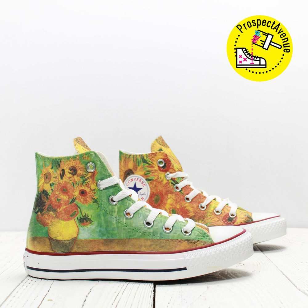 4bb8b5498f7 Van Gogh Sunflowers Custom Converse All Star hi top shoes floral print  sneakers  Converse  CasualShoes