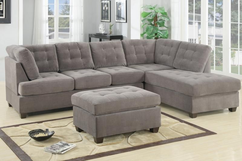 Charcoal Waffle Suede Sectional Sofa and Chaise with Ottoman - Sofas Loveseats u0026 Chaises : microsuede sectional with chaise - Sectionals, Sofas & Couches