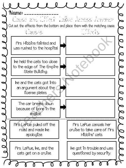 Freebie Larue Across America Cause And Effect Worksheet