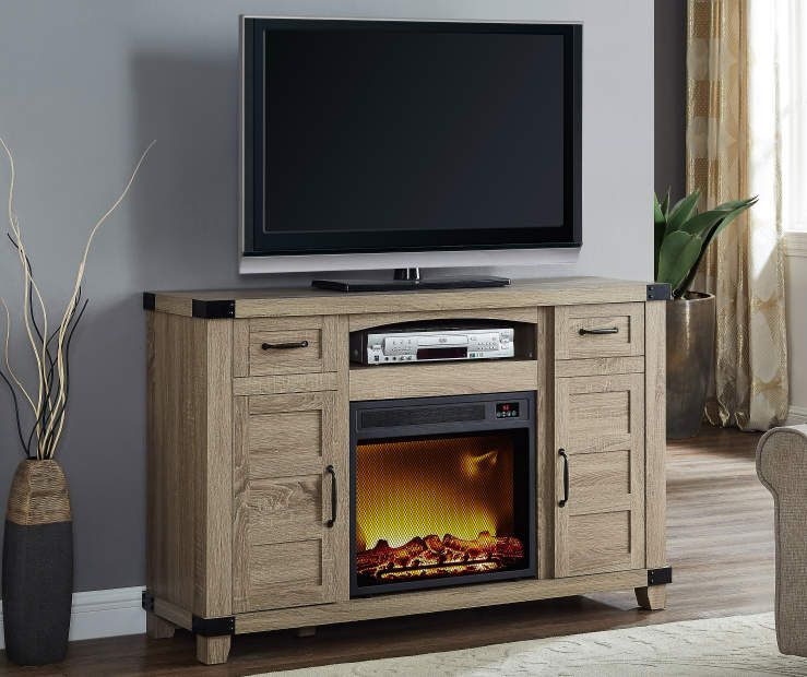54 Light Brown Rustic Console Electric Fireplace At Big Lots
