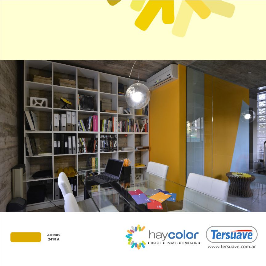 Más opciones con diferentes y novedosos usos del color amarillo en www.tersuave.com.ar.  Habitaciones, Casas, Oficinas, Exteriores, Interiores, Muebles, etc. Todo podés renovarlo con Tersuave.