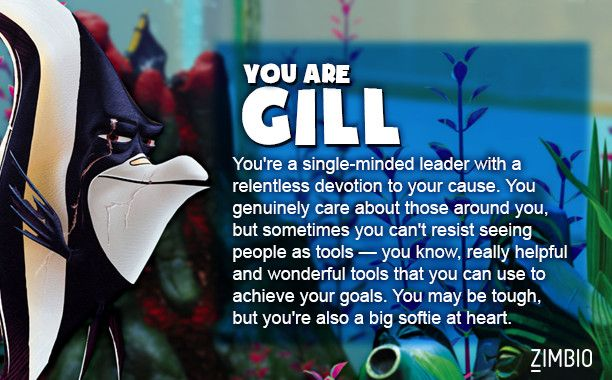I took Zimbio's 'Finding Nemo' quiz and I'm Gill! Who are you? #ZimbioQuiznull - Quiz