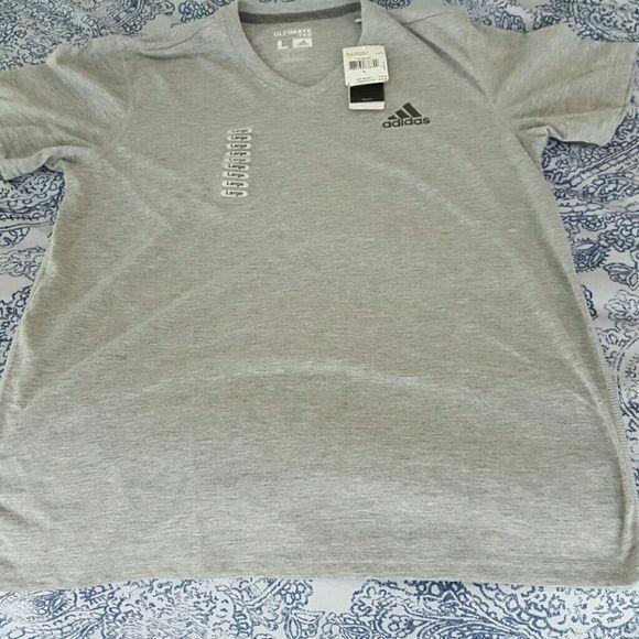 """NWT Mens Adidas Ultimate v-neck tee NWT. Mens Adidas Ultimate v-neck tee. Men's L (41-43"""" chest; 29"""" length); 100% Polyester. Adidas Shirts Tees - Short Sleeve"""