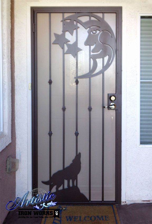 Wolf And Moon Wrought Iron Security Screen Door Wrought
