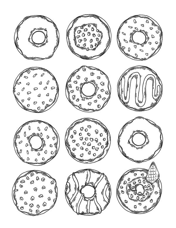 раскраски сладости много пончиков раскраски