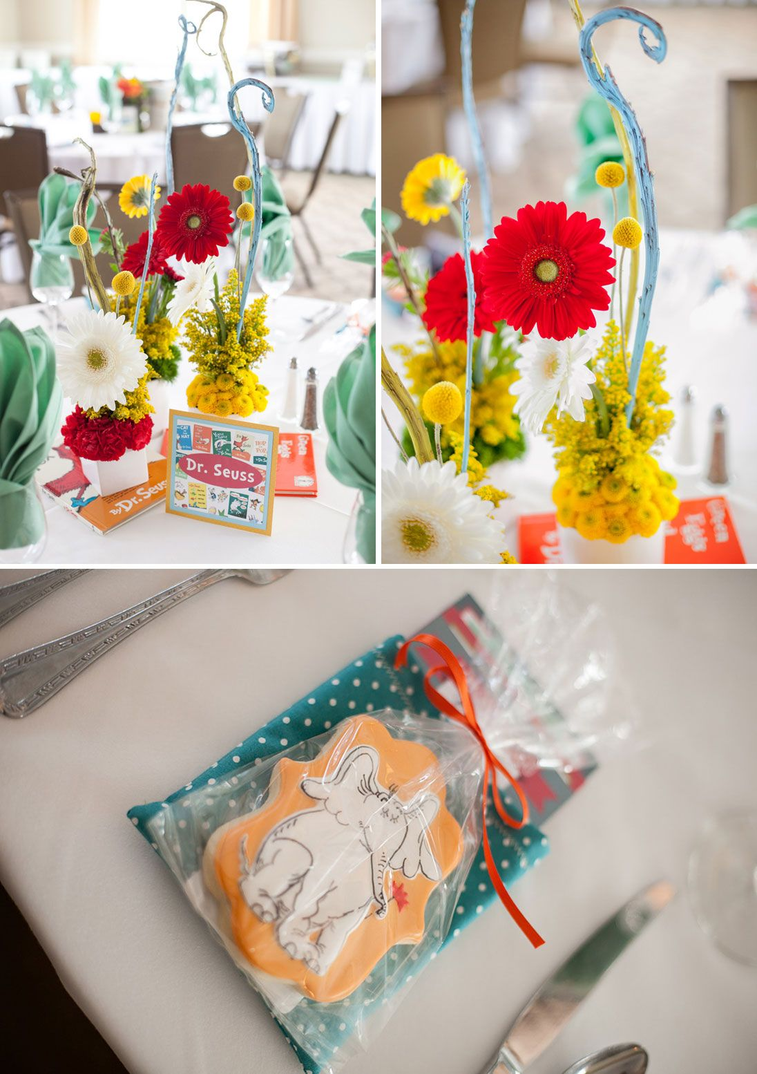 A Gender Neutral, Children's Book Themed Baby Shower- Dr. Seuss table and flower arrangements