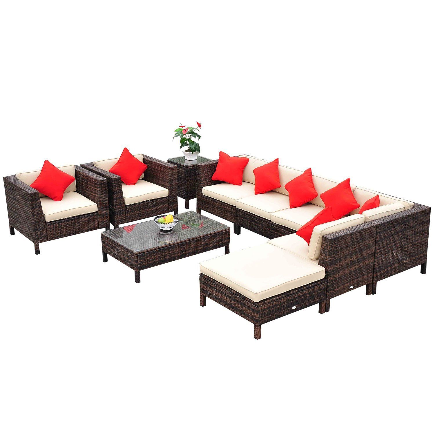 amazon : outsunny 9-piece outdoor pe rattan wicker sectional